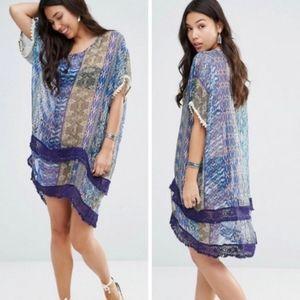 Gypsy 05 Blue Print Silk Dress/Cover-up